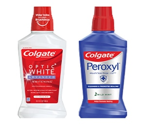 Colgate optic white whitening mouthwash and Colgate Peroxyl mouth sore rinse product images